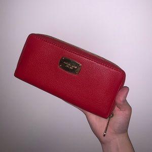 Michael Kors Red Zip-Up Wallet